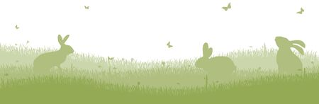 easter time: green colored bunny silhouettes with grass and white background for Easter time