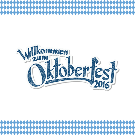 beer garden: blue and white header with scribble pattern and text Welcome to Oktoberfest 2016 (in german)