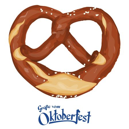 pretzel: vector illustration of an brown bavarian pretzel isolated on white background and text greetings from Oktoberfest (in german) Illustration