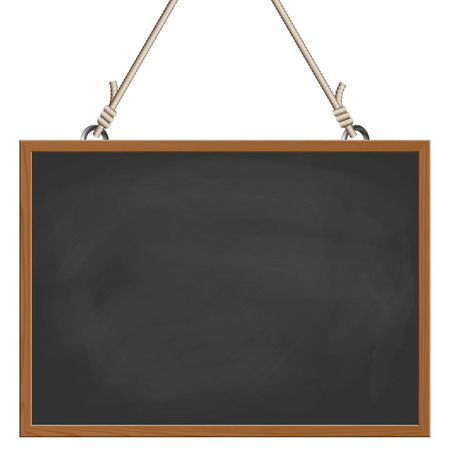 blank black board with wooden frame hanging on ropes Stock Illustratie