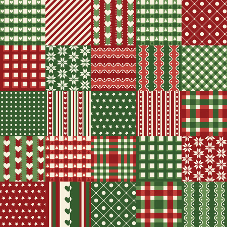 typically: seamless patchwork background with typically christmas pattern and colors Illustration