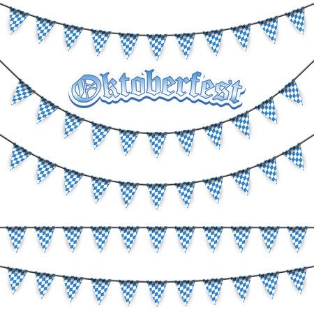 Oktoberfest garlands having blue-white checkered pattern and text Oktoberfest