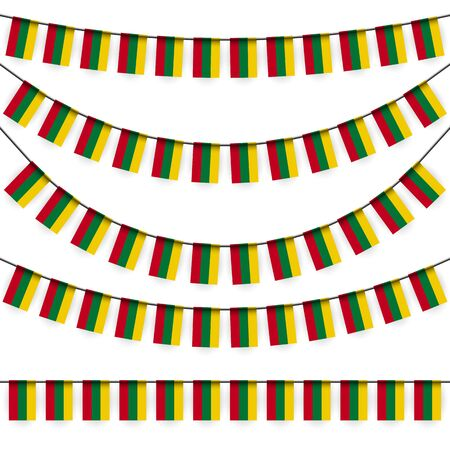 national colors: different garlands with national colors of lithuanian flag