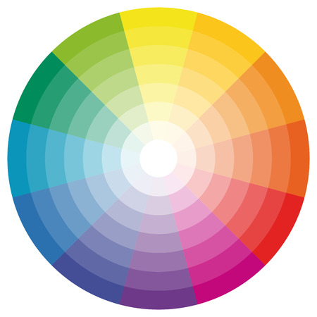 ring tones: illustration of printing color wheel with different colors in gradations