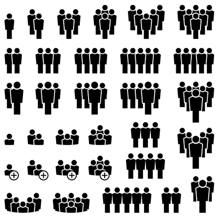 collection of many different icons showing typical teamwork or leading business situations