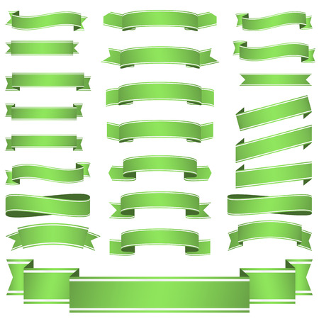 banderole: big collection of green colored empty banners isolated on white background