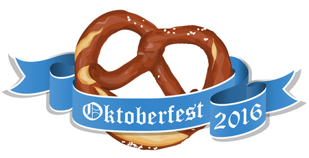 banderole: vector illustration of an brown bavarian pretzel with blue banner and text Oktoberfest 2016 isolated on white background