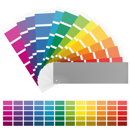 illustration of printing color fan with different colors in gradations