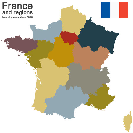 national border: silhouettes of country France and new regions since 2016