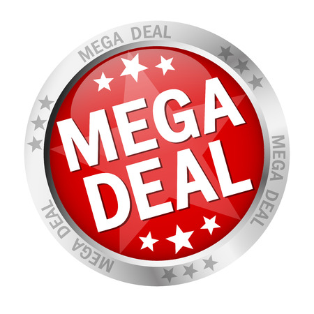 colored button with banner and text Mega Deal
