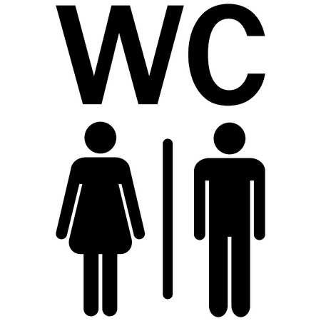 water closet: silhouettes of man and woman showing water closet area (WC)