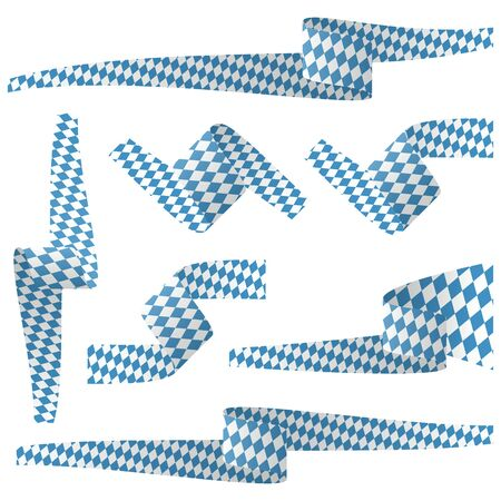 banderole: collection of seven different banners for Oktoberfest with blue and white flag colors