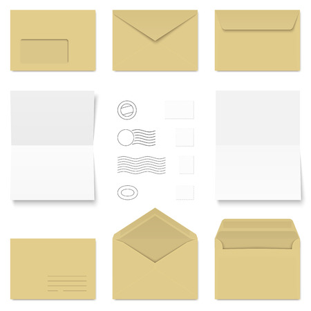 standard size: collection of brown and white standard size envelopes and different postage stamps