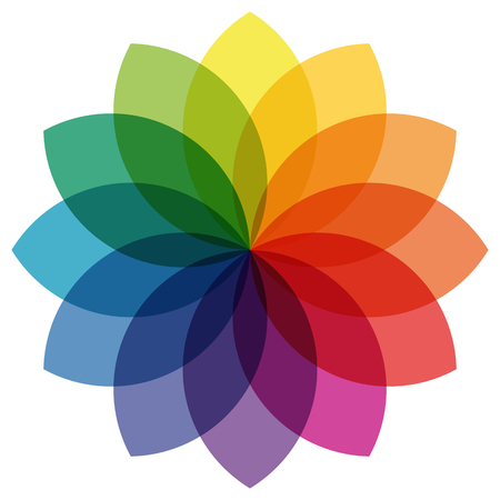 print shop: illustration of printing color wheel with different colors in gradations