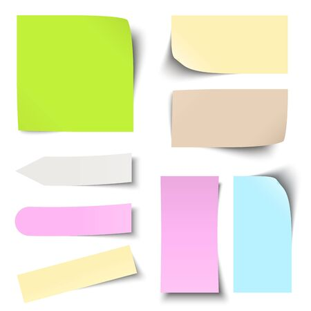 informing: collection of different colored sticky notes with shadow