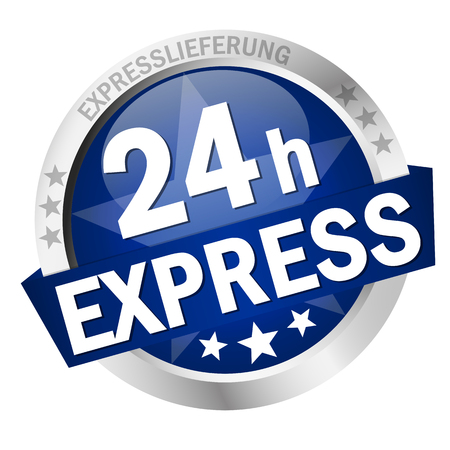 colored button with banner and text 24h Express Illustration