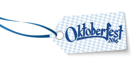 hangtag with blue white checkered pattern and text Oktoberfest 2016 Illustration