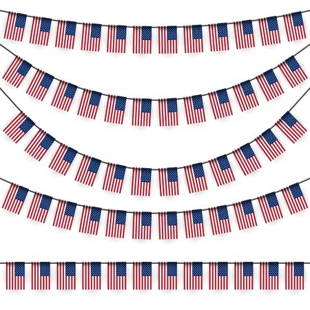 national colors: different garlands with national colors of US flag