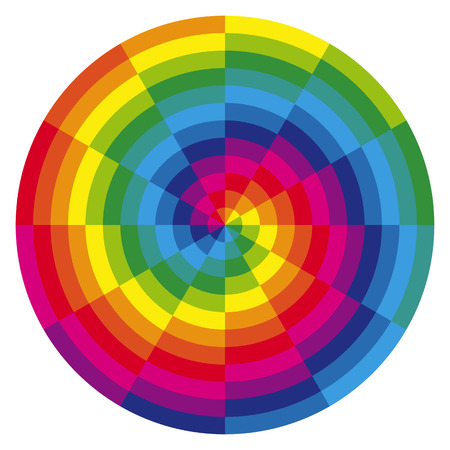 color theory: illustration of printing color spiral with different colors in gradations