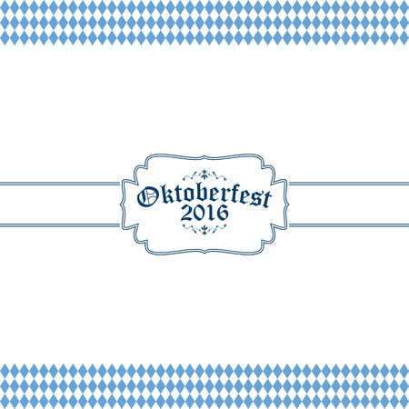 wiesn: blue and white Oktoberfest banner with text Oktoberfest 2016