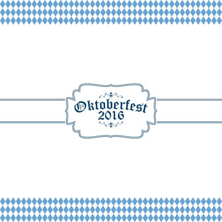 wiesn: blue and white Oktoberfest banner with text Oktoberfest 2016