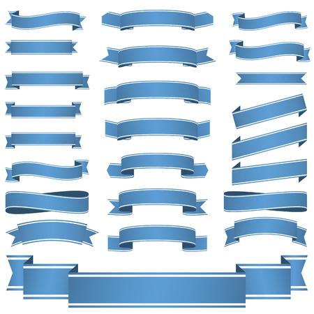 bucle: gran colección de banderas azules vacías de color aislado en el fondo blanco