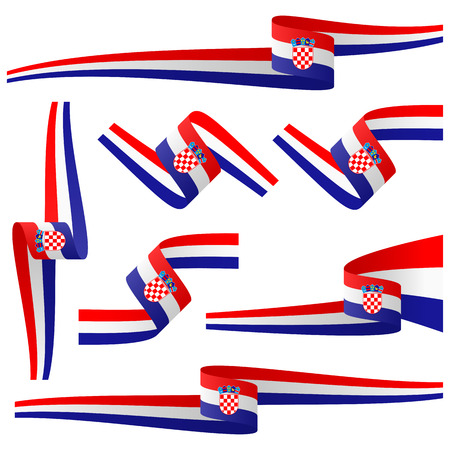 banderole: collection of seven different banners with croatian country colors Illustration
