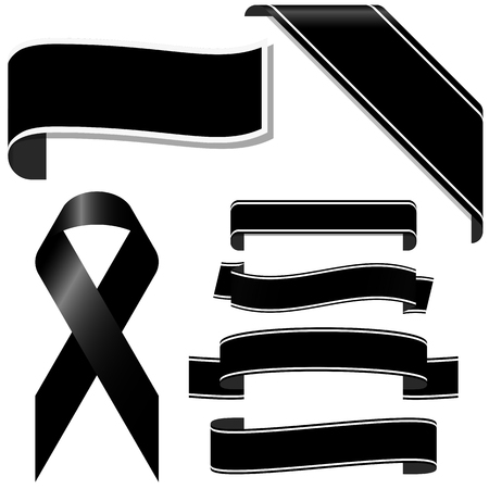 collection of black mourning ribbon and banners for sorrowful times Illustration