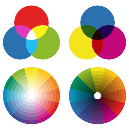 illustratie van het afdrukken van kleurenwielen met verschillende kleuren in gradaties