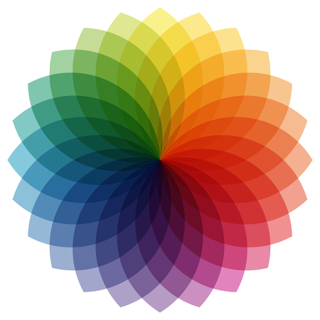 color mixing: illustration of printing color wheel with different colors in gradations