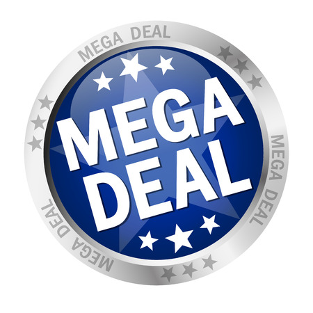 inexpensive: colored button with banner and text Mega Deal