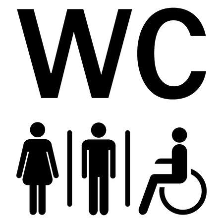 water closet: silhouettes of man, woman and wheelchairs showing water closet area (WC)
