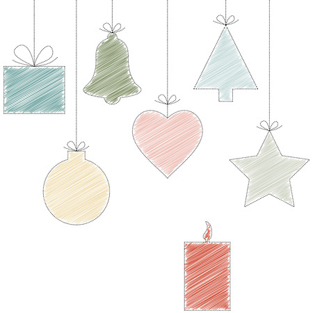 typically: christmas background with typically hanging christmas symbols in scribble design