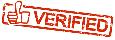 verified stamp: grunge stamp with frame colored red and text verified