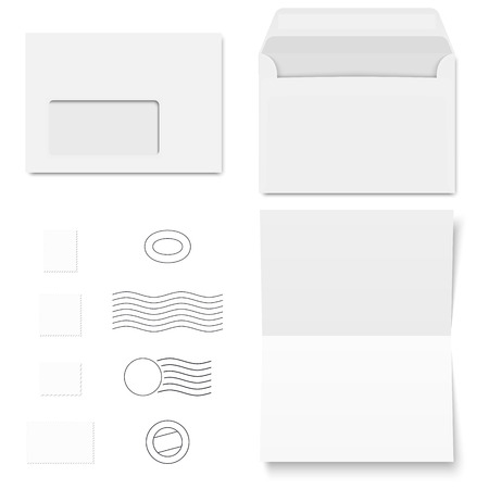 din: collection of white standard size envelopes and different postage stamps
