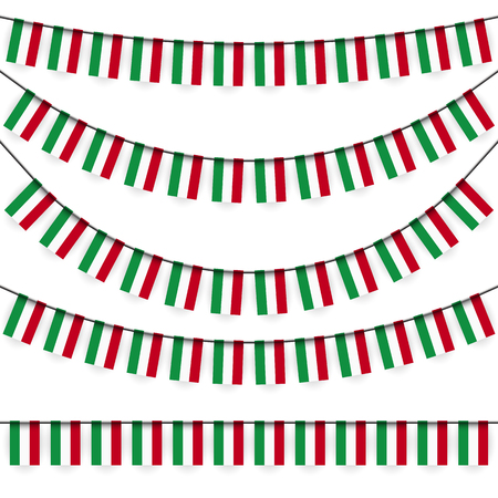 national colors: different garlands with national colors of hungarian flag Illustration