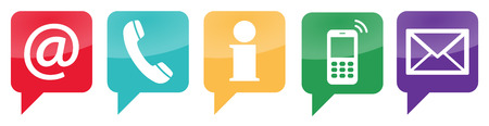 writes: Contact Us, set of five white icons in colored speech bubbles