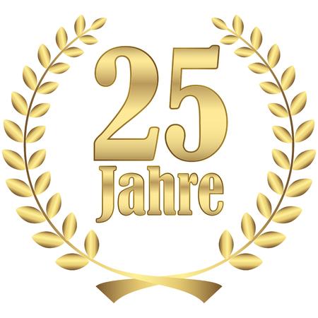 couronne de laurier pour jubilé ferme avec texte 25 ans