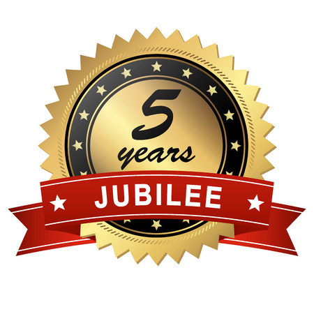 golden jubilee medallion with red banner for 5 years