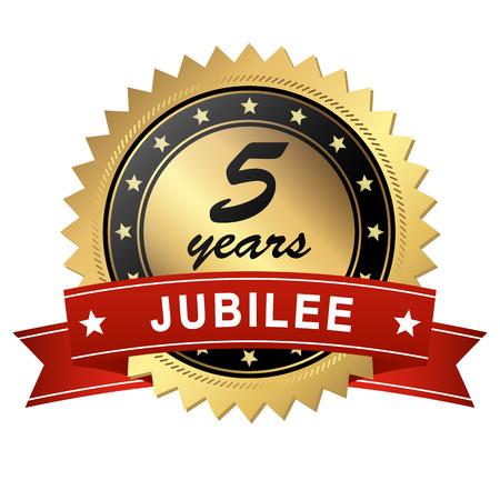 Goldenes Jubiläum Medaillon mit roten Banner für 5 Jahre