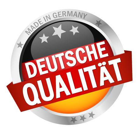 banderole: round button with banner, country flag and text DEUTSCHE QUALIT�T
