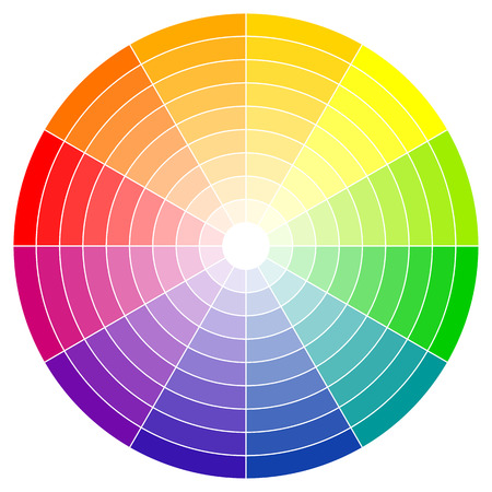 color mixing: illustration of printing color wheel with twelve colors in gradations