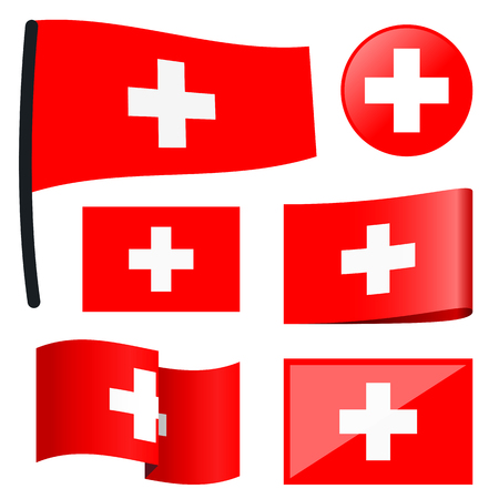 customercare: collection of different swung flags of country Switzerland