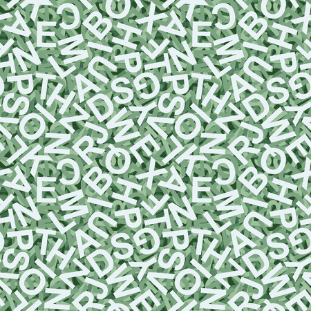 orthography: illustration of seamless background with green colored letters