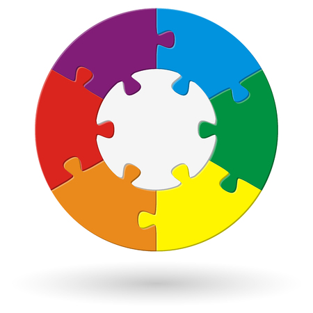 round puzzle with base and six options in different colors