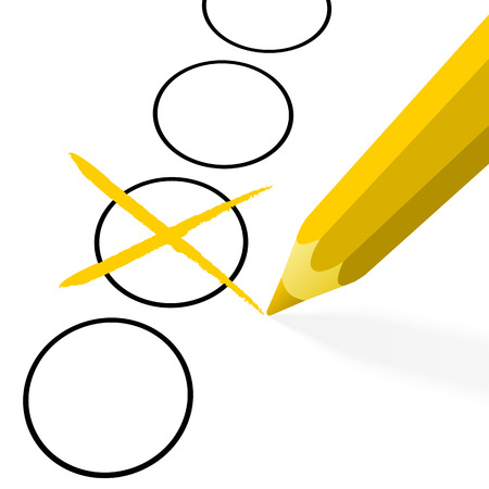 illustration of pencil colored yellow drawing a cross