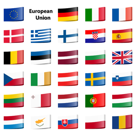 collection of loop ribbon flags of national countries European Union Illustration