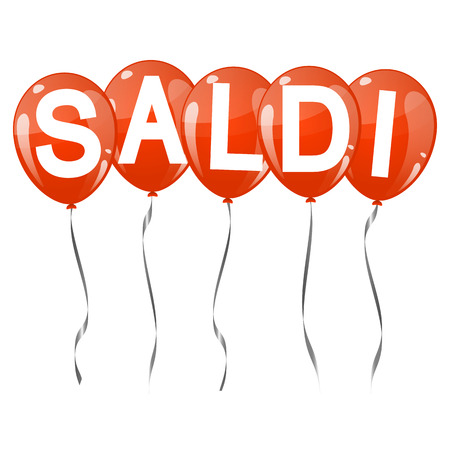 five red colored flying balloons with text SALDI