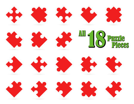 collection red: collection of all 18 puzzle parts in red color