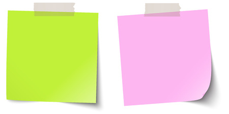 chit: two little colored sticky papers with shadow and adhesive tapes